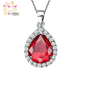 Fashion Women Natural Stone Crystal Pendants 18K White Gold Plated Ruby Red Cubic Zirconia Jewelry with