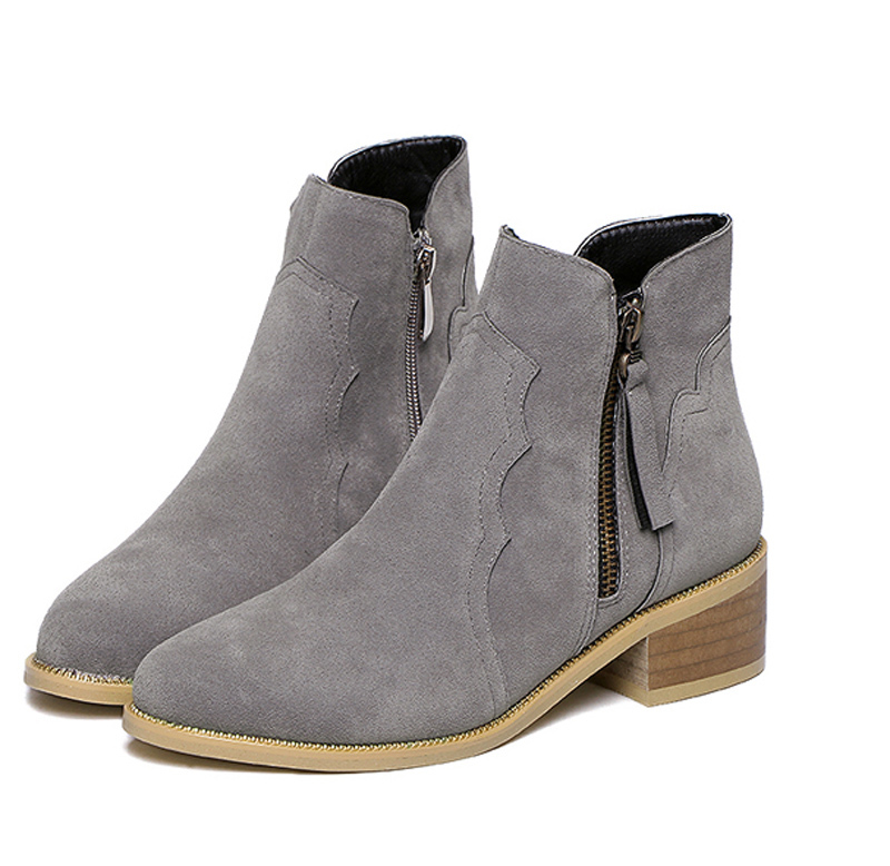 grey ankle boots low heel | Gommap Blog