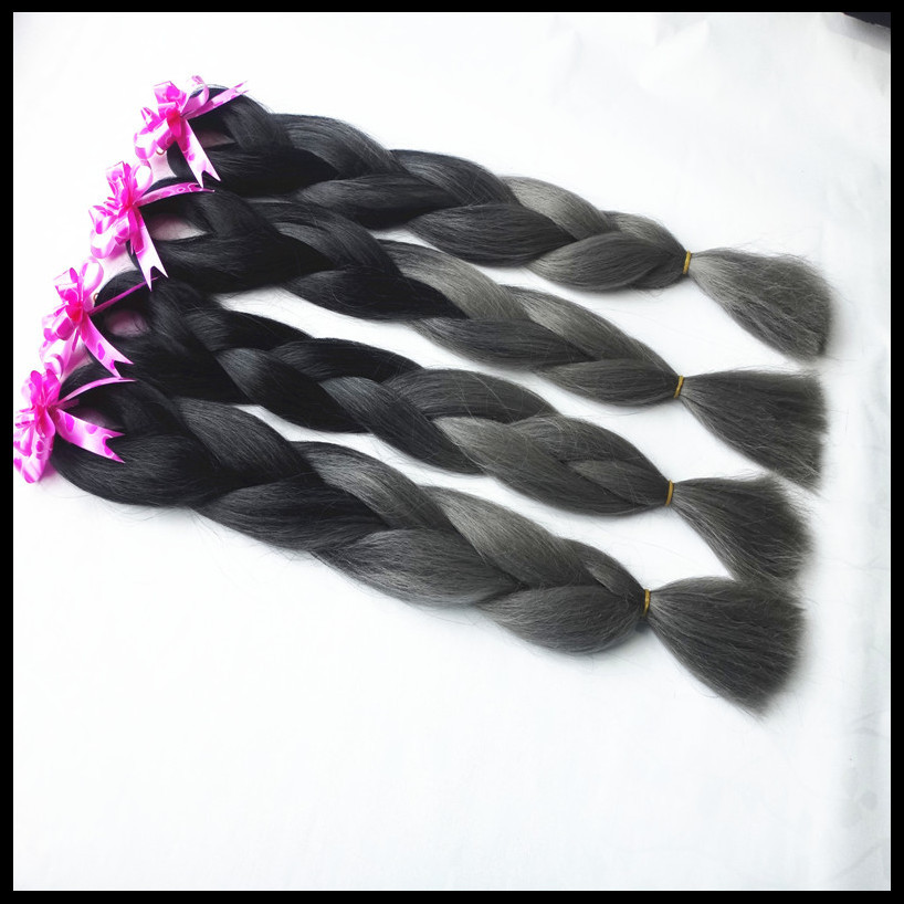 Braiding Hair African Ombre Braiding Hair Black gray Expression Kanekalon Jumbo Braid Extension 24 4 pcs