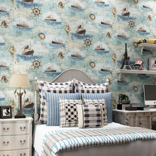wall paper. Pune Mediterranean-style pure paper wallpaper imported children's room bedroom wallpaper backdrop sailing yacht Blue(China (Mainland))
