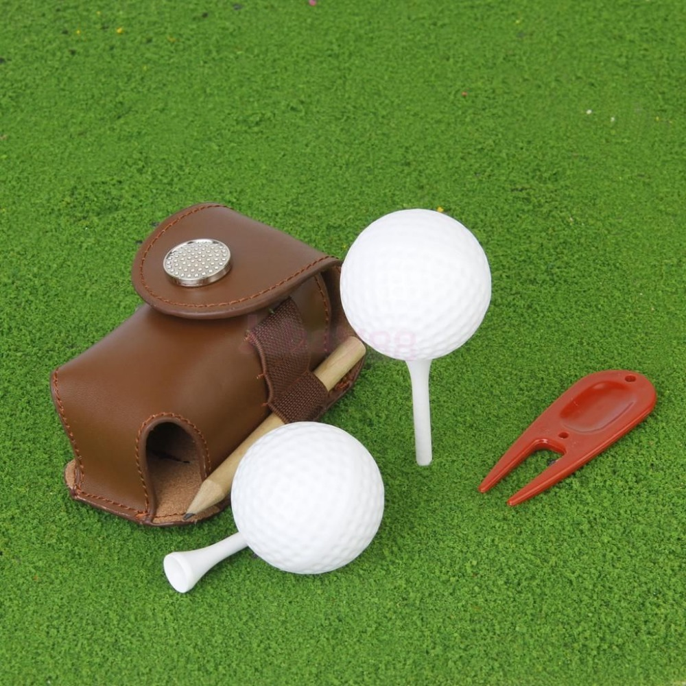 Mini Portable Leather Clip On Golf Ball Holder Pouch Bag Hold 2 Balls Golfer Aid Tool Gift Dark Khaki(China (Mainland))