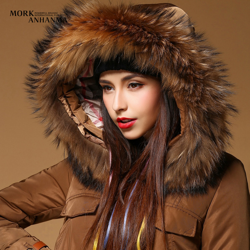 2015 Duck Down Sale Luxury Women's Long Down Coat Large Real Fur Hood Thickening High Quality Winter Jackets Parka Brown Goose(China (Mainland))