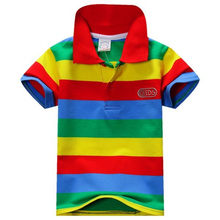 New Summer 1-7Y Baby Children Boys Striped T-shirts Minions Kids Tops Sports Tee Polo Shirts Clothing