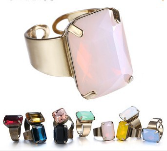 Big brand Korean charming rings for women five candy colours acrylic pendant accessories anillos opening ring fashion jewelry(China (Mainland))