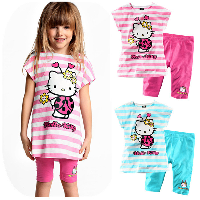 New arrival Fashion Summer Toddler girls Clothing Set dress+short pants Baby hello kitty Suits cotton Kids Clothes Free shipping(China (Mainland))