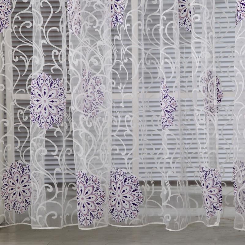 Room Floral Tulle Window Curtain Drape Panel Decal Scarf Valances Door Decor(China (Mainland))