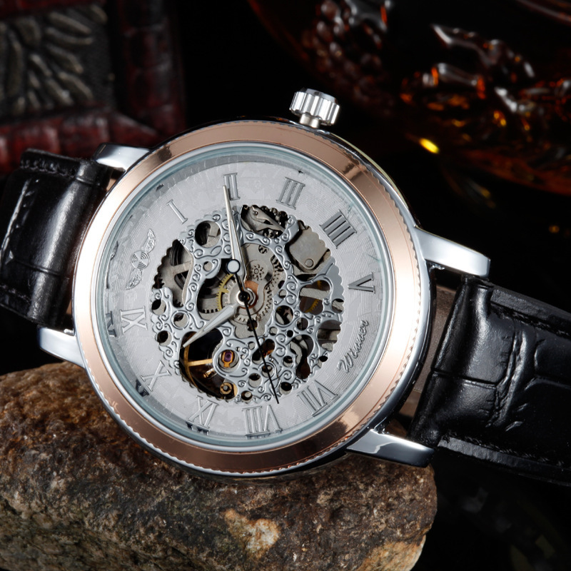 New Fashion Leather Strap Casual Style Watches Clock Hour Senior Gem Glass Manual Mechanical Men's Watches Free Shipping 05TC(China (Mainland))