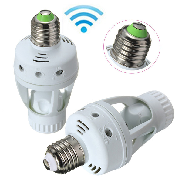 Best Promotion AC 110V Infrared PIR Motion Sensor LED E27 Lamp Base Bulb Switch Holder Converter Adaptor(China (Mainland))