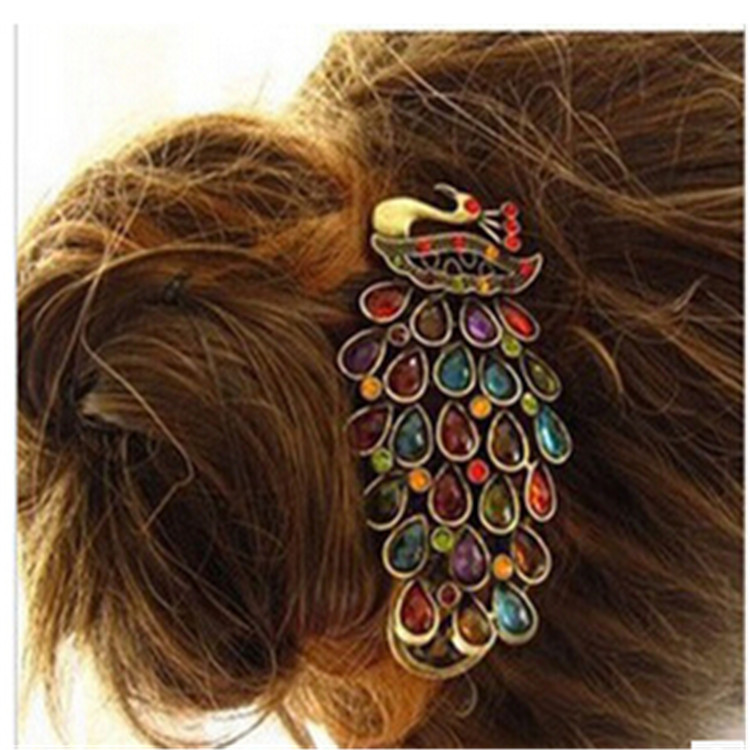 2014 Hot Selling Fashion Peacock Full Crystal Rhinestones Hairpin Hair Clip Headwear Barrettes for Women's Day gift(China (Mainland))