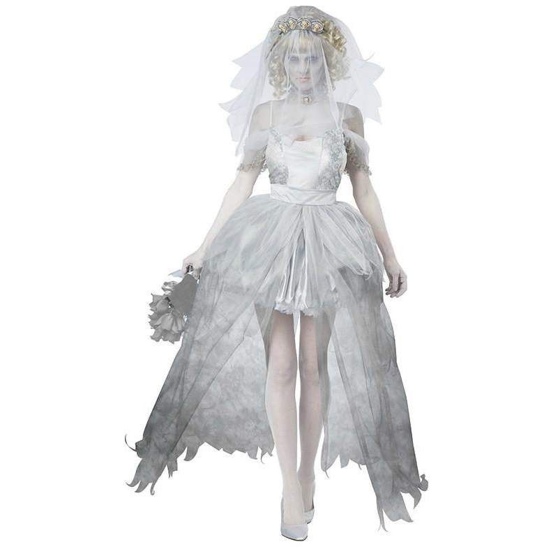 White Corpse Bride Vampire Witch Dress Halloween Costumes Cosplay For Woman Party Carnival Uniform DS Clubwear(China (Mainland))