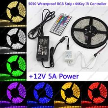 Buy 5M IP65 Waterproof DC12V 5050SMD 60LED/M 300LEDs RGB LED Flexible Strip +44 Keys IR Remote Controller + 12V 5A Power Adapter for $16.99 in AliExpress store