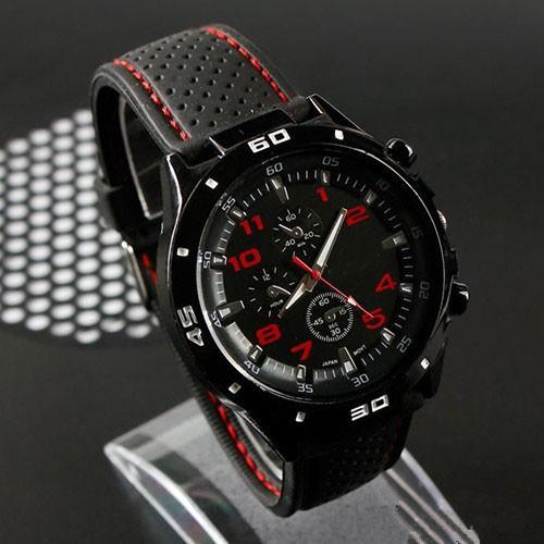 Кварцевые часы мужские черные с красными цифрами. фото