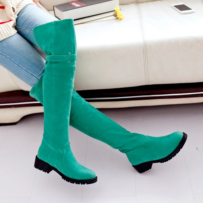 2013 New Arrival Black Gray Red Green Yellow Buckle Over The Knee Fashion Sweet Casual Warm Female Lady Winter Flats Boots X252(China (Mainland))