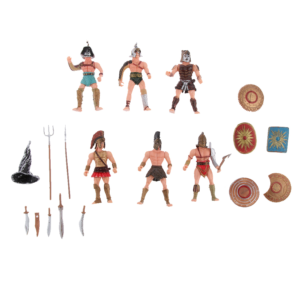 Weapons Toy Gift 6Pcs Gladiator Warriors Roman Soldier Fighter Action Figures