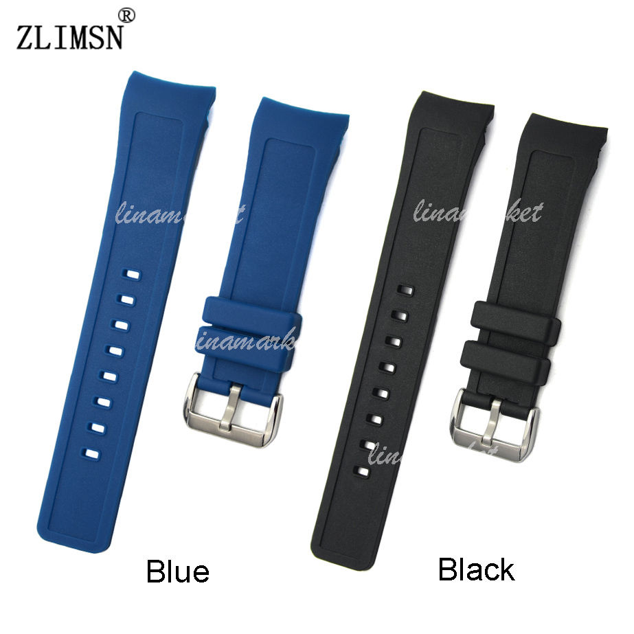 Watchbands Mens Black Blue Curved End Silicone Rubber Watch Strap Band & Pin Buckle 21mm Relojes Hombre 2016 IWC321(China (Mainland))