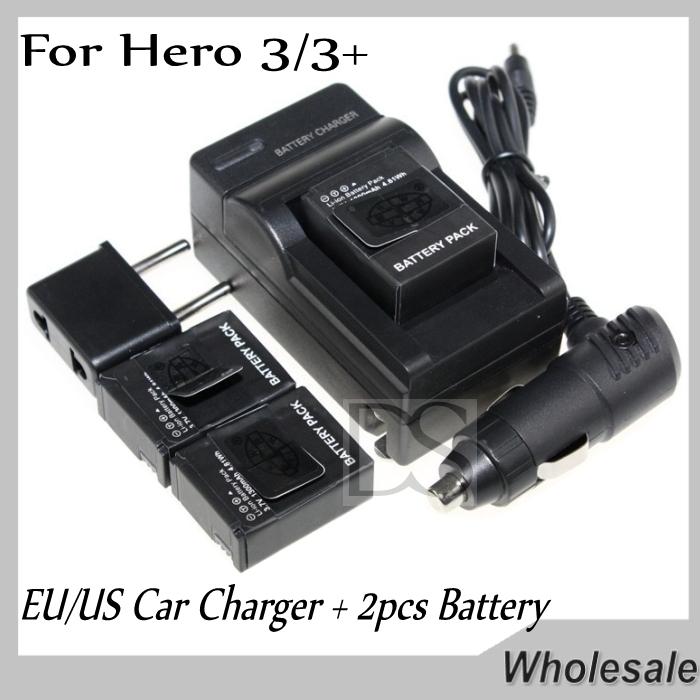 car eu us charger 1600mah gopro hero 3 3 battery 2pcs for gopro go pro hd hero 3. Black Bedroom Furniture Sets. Home Design Ideas