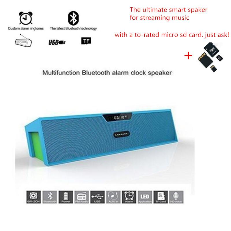 Portable Wireless Bluetooth Stereo Speaker 2 X5W Speaker Enhanced Bass Resonator FM Mic LED Display Alarm clock with 32G SD card<br><br>Aliexpress