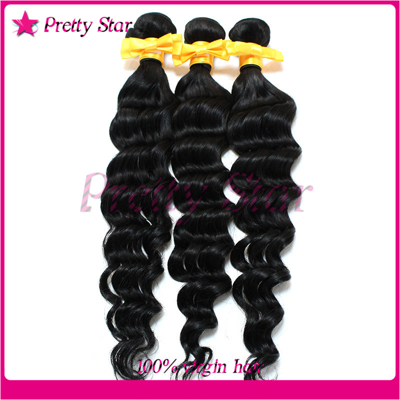 Cheap 5A Unprocessed Brazilian Virgin Hair Weaves Deep Wave Natural Black Color Human Hair Extensions Curly 3Pcs/Lot 8-30 Inch(China (Mainland))