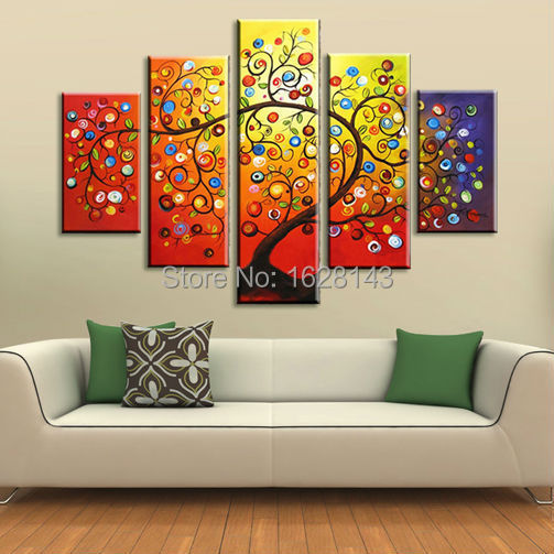 Free Shipping! 5 Pieces apple Tree Oil Painting On Canvas Hand Painted Dancing Trees Modern Decoration Large Wall Art present D2(China (Mainland))
