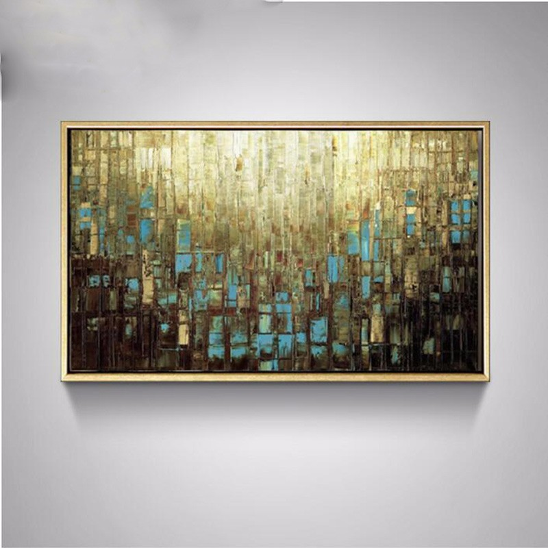 Buy Hand Painted High Quality Modern Palette Knife Painting Multicolored Wall Art Abstract Oil Painting Canvas Wall Living Room Art cheap