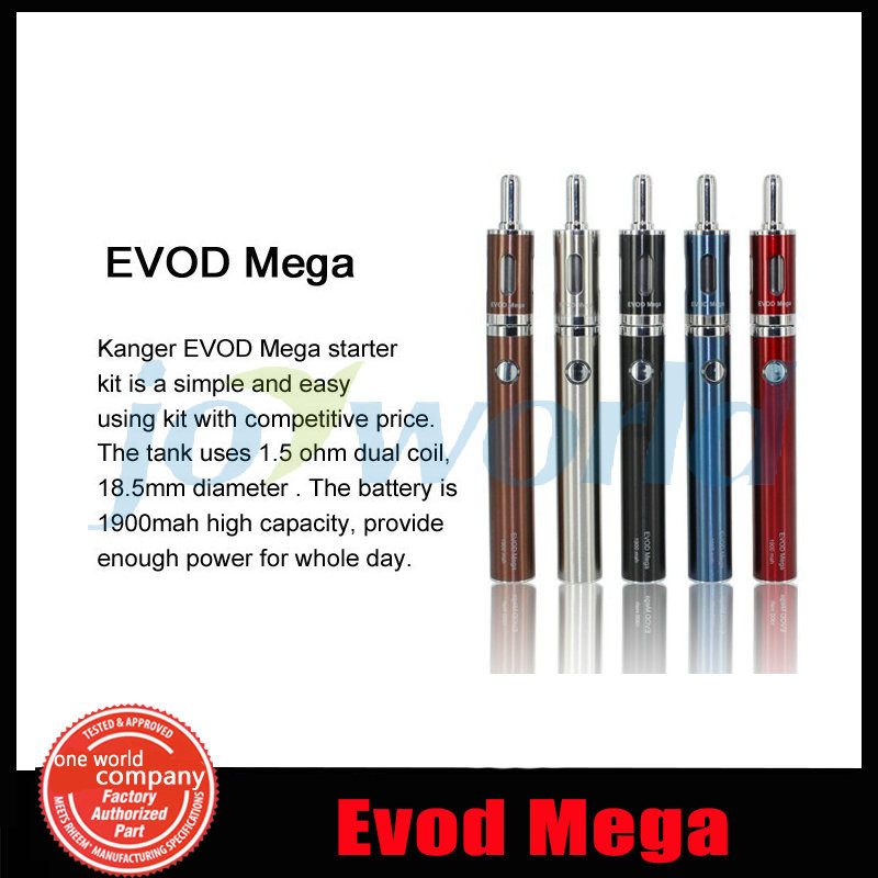 5 100% Authentic Kanger Evod Mega Electronic cigarette Adjustable battery 1900mah  e cig Kanger Evod Mega Starter Kit