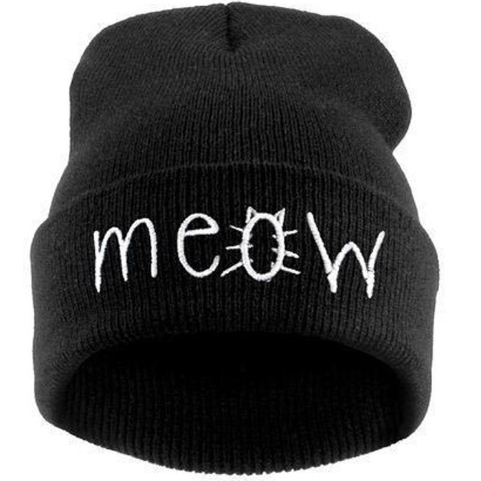 Fashion MEOW Cap Men Casual Hip-Hop Hats Knitted Wool Skullies Beanie Hat Warm Winter Hat for Women Free Shipping M0342(China (Mainland))
