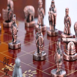 "Large stereo chinese chess copper belt XIANGQI (CHINESE CHESS) METAL FIGURE 10"" BOARD K=1 3/8""(China (Mainland))"