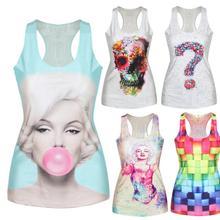 Women Multi Color Gothic Punk Clubwear T Shirt Print Tank Top Vest Blouse