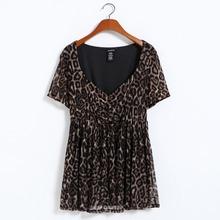 L-8XL Women Large Size Sexy Leopard Tunic Top T-shirt Shirt Big Size Plus Size Women Clothing 3XL 4XL 5XL 6XL 7XL Summer(China (Mainland))