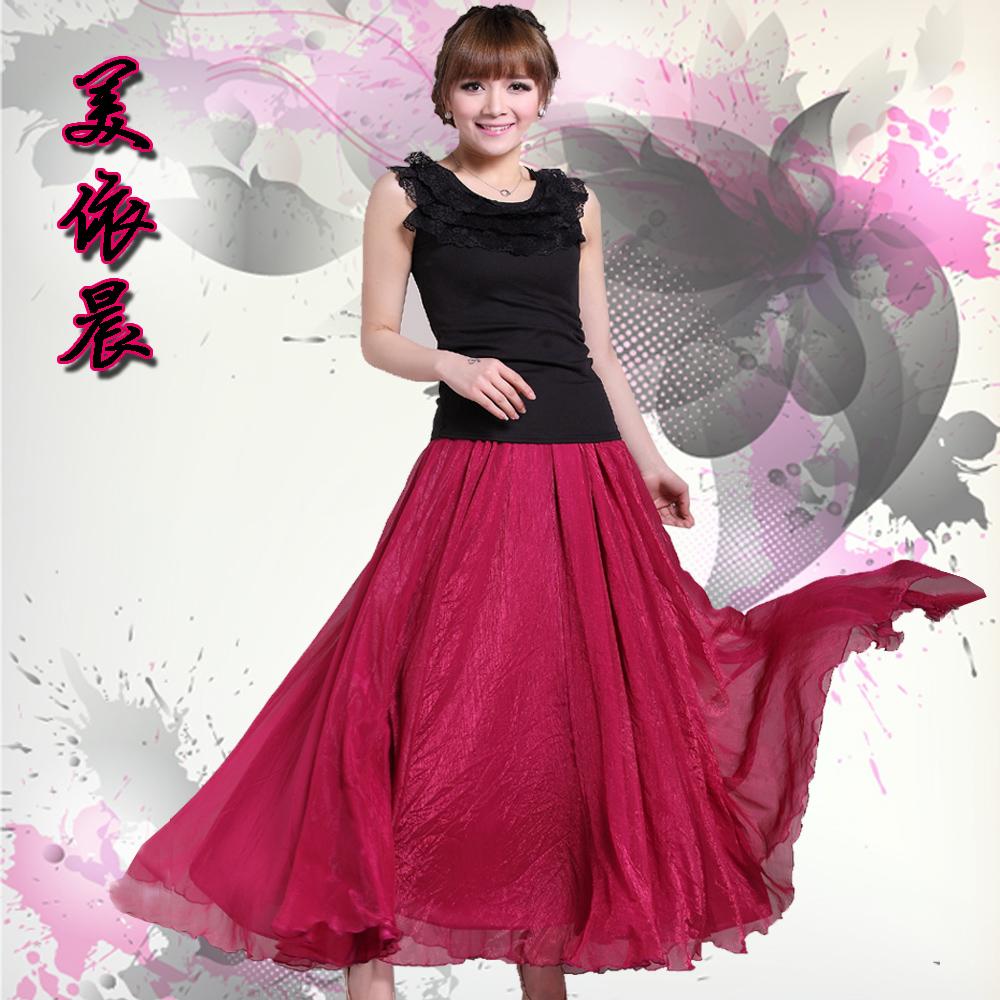 Free shipping!2013summer 8 meters expansion bottom bust dress fashion full dress chiffon dress half-length full dress two ways(China (Mainland))