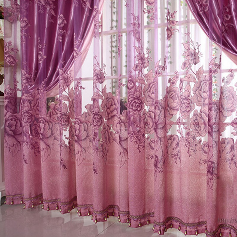 High Quality Mordern Room Floral Tulle Window Screening Curtain Drape Scarfs New(China (Mainland))