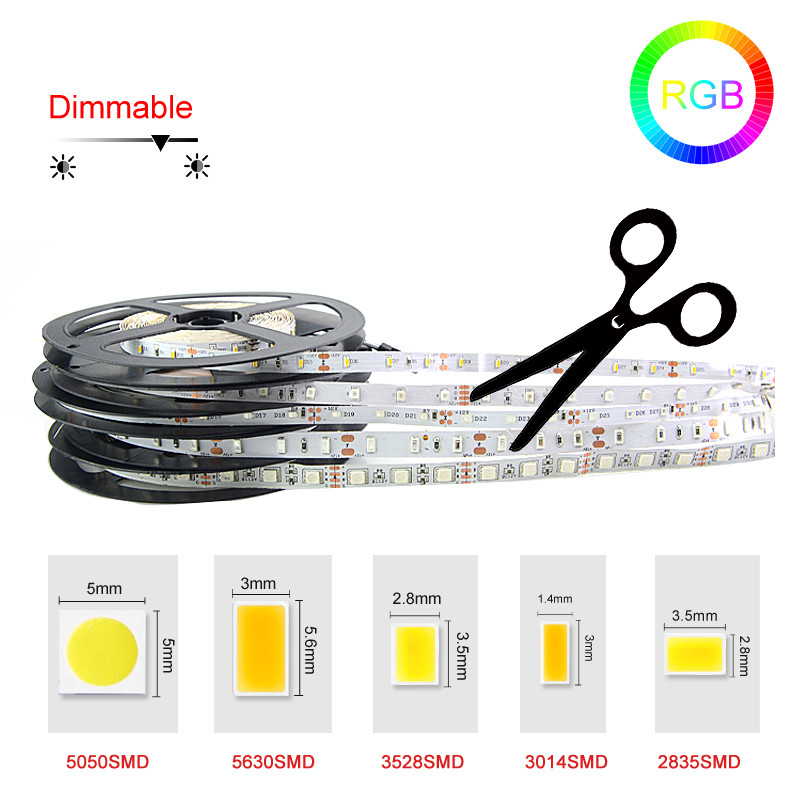 DC12V rgb led Strip Light SMD5050 5630 3528 3014 2835 Fita Led string Ribbon tape Bar Neon tiras led striscia led RGB strip Lamp()