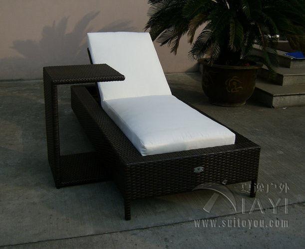 2pcs rattan sun lounger set folding Beach Lounge Chair , Outdoor Garden Wicker Chaise Lounge transport by sea(China (Mainland))