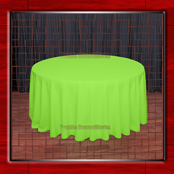 """Hot Sale  132"""" R Neon Green Round Table Cloth Polyester Plain Table Cover for Wedding Events &Party Decoration(Supplier)"""