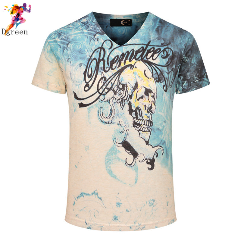 Cool and personal Fashion 2016 Summer style T shirt V neck Motorcycle Eagle Flag Tiger skull