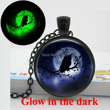 Glow in the Dark Owl Necklace Moon Pendant owl moon necklace ,Art photo Glass Glowing Jewelry Glow in the Dark Necklace Pendants(China (Mainland))