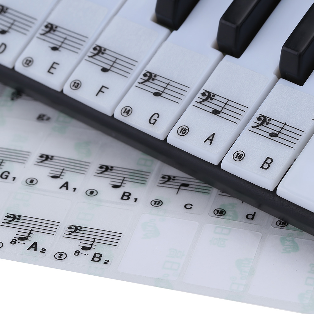 Hot Sale! Transparent Piano Keyboard Sticker 49 61 Key Electronic Keyboard 88 Key Piano Stave Note Sticker for White Keys(China (Mainland))