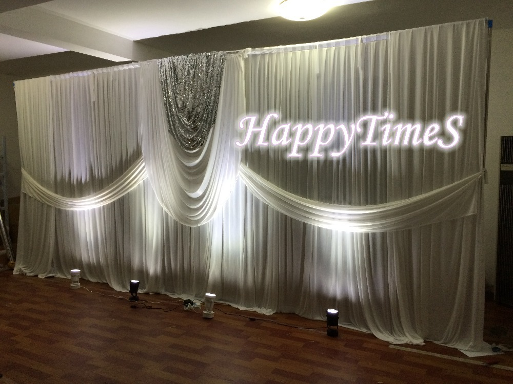 2015 New Style 3M High 6M Wide Wedding Curtain Backdrop With White Swag,Sequins On The Middle,Banquet&Wedding Favors(China (Mainland))
