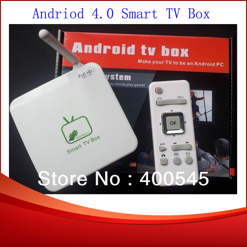 Wholesale Google TV Smart Mini Android 4.0 TV Box Support WIFI Allwinner Boxchip A10 Cortex-A8 1.2GHz 1GB/4GB Free Shipping(China (Mainland))