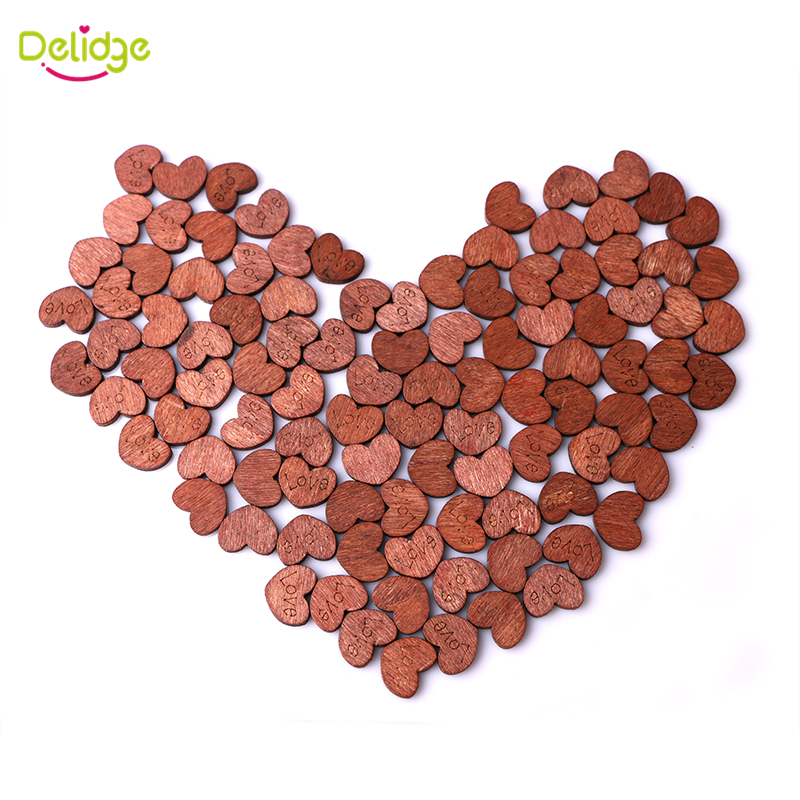 100 pcs/Set 1.5*1.2 cm Wooden Heart Love Letters Heart Shape Wooden Home Decoration Weeding Party Decoration Supply Sweet Heart(China (Mainland))