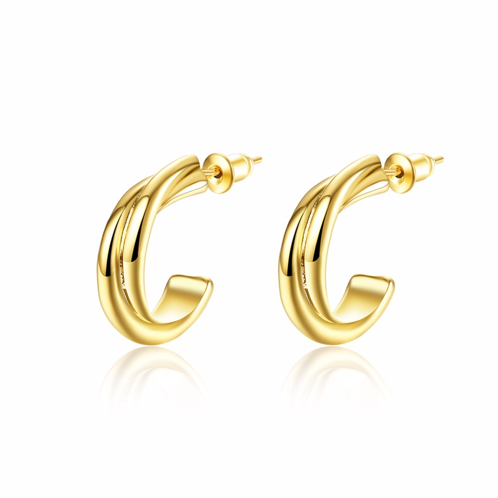 Unique half Circles stud earrings 18k gold plated de Ouro d'oreille Twist C shape Brincos Fashion 2016 New Jewelry accessary(China (Mainland))