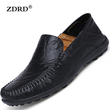 Plus Sizes 2016 New Autumn Men Flats Loafers Shoes Black Genuine Leather Mens Fashion Casual Breathable Male Driving - NUO YU store