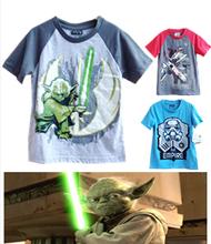 Newest Kids boys summer t shirt star wars shirt cartoon shortsleeve top tee child Jedi master casual t shirt boys heros costumes(China (Mainland))