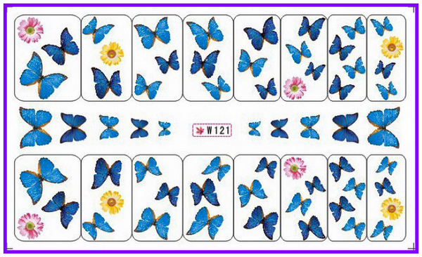 GLITTER POWDER NAIL TATTOOS STICKER WATER DECAL NAIL ART FLOWER COLORFUL BUTTERFLY W121-126(China (Mainland))