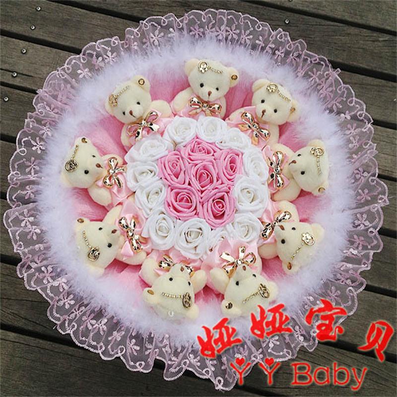NEW Handmade Wedding bridal bouquet Soft Plush Toy Bouquet Teddy Bear Bouquet Cartoon Doll Fake Rose Valentine/Graduation Gift(China (Mainland))