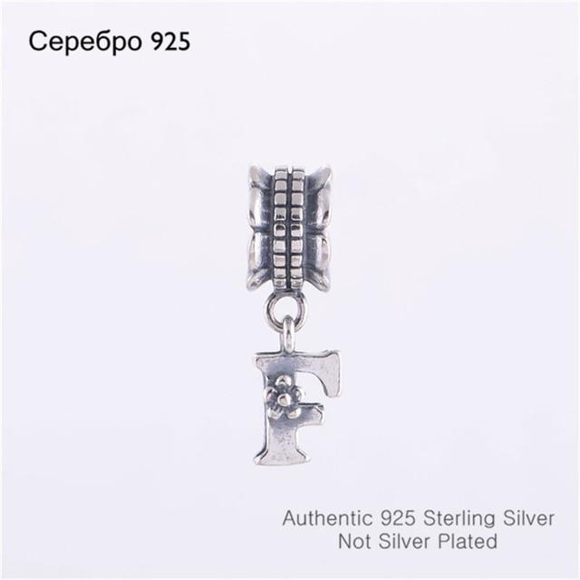 Оригинал 925 буква F слайд мотаться бусины ювелирные изделия совместимость с пандора стиль шарм браслеты