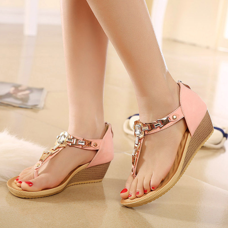 2015 New Women's Thong Sandals Wedges Shoes Summer Diamond Rhinestone Flip Flops High Quility Lady Sandals(China (Mainland))