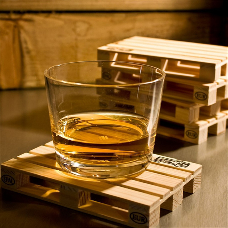 4pcs/set Rectangle Mini Wooden Pallet Coaster Set Whiskey Wine Glass Cup Mat Pad Hot Cold Drink Wood Table Mat Bar Tool PC878076(China (Mainland))
