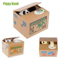 New Cut Automatic Stole Coin Piggy Bank Panda  Yellow / White Cat 11.5x9.5x9cm Size Money Saving Box Moneybox Gifts For Kids(China (Mainland))