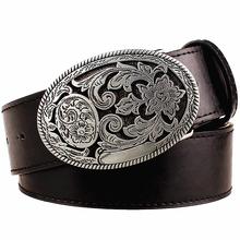 Buy Retro women's belt metal buckle weave Arabesque pattern leather belts jeans trend punk rock strap decoration belt gift women for $8.98 in AliExpress store